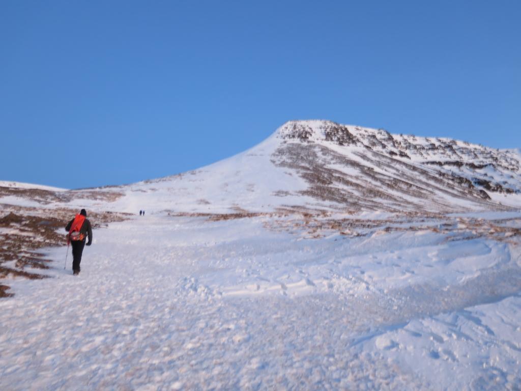 Going towards the Rock and Þverfellshorn peak.